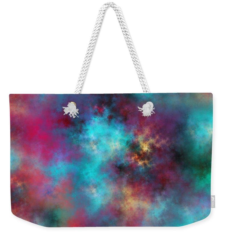 Fractal Weekender Tote Bag featuring the digital art Night Sky by Betsy Knapp