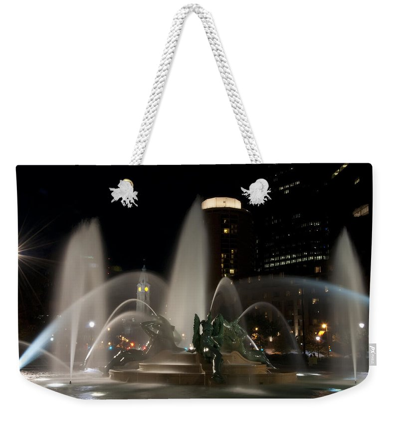 Night View Of Swann Fountain Weekender Tote Bag featuring the photograph Night View Of Swann Fountain by Bill Cannon