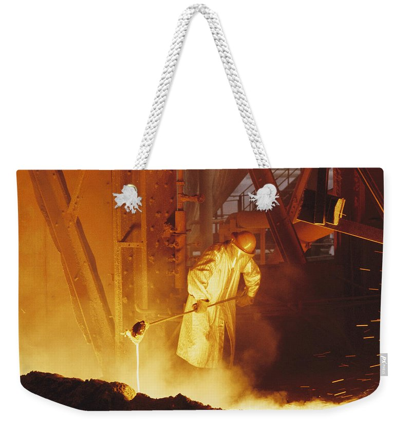 iron And Steel Industry And Production Weekender Tote Bag featuring the photograph No Captions by Joe Scherschel