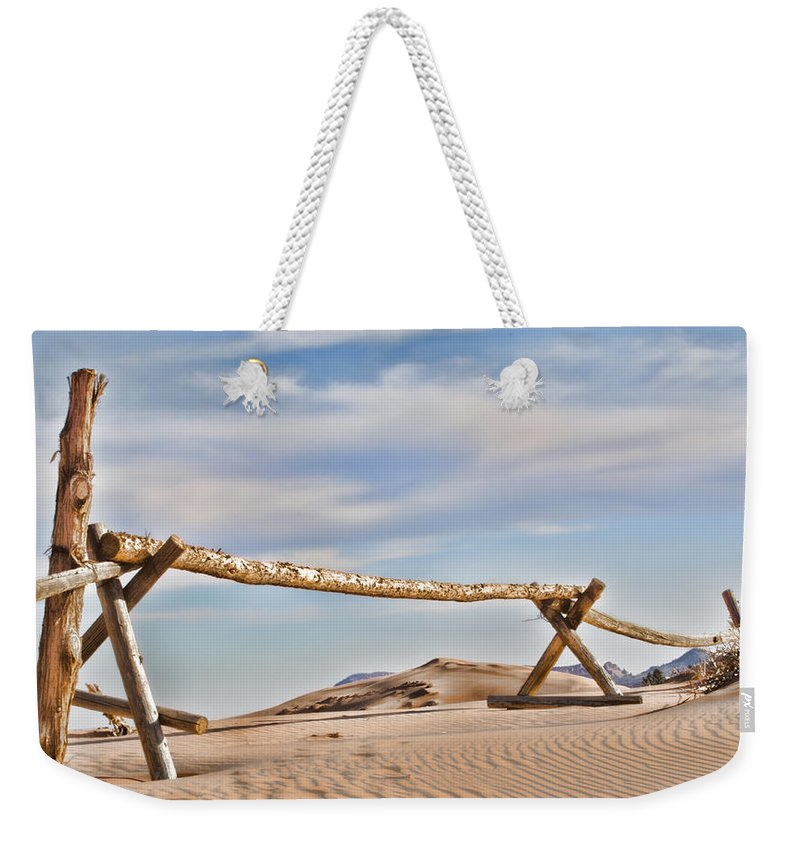 Coral Pink Sand Dunes Weekender Tote Bag featuring the photograph No Trespassing by Heather Applegate