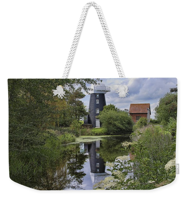 Norton Weekender Tote Bag featuring the photograph Norton Marsh Mill Norfolk by Dave Godden
