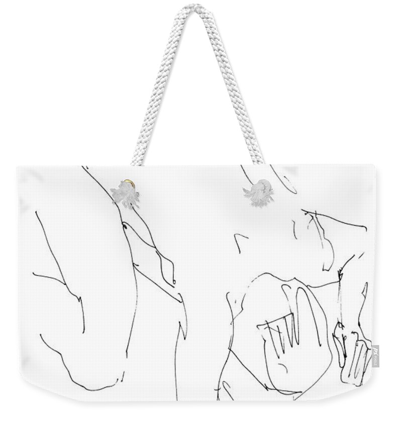 Male Weekender Tote Bag featuring the drawing Nude-male-artwork-21 by Gordon Punt