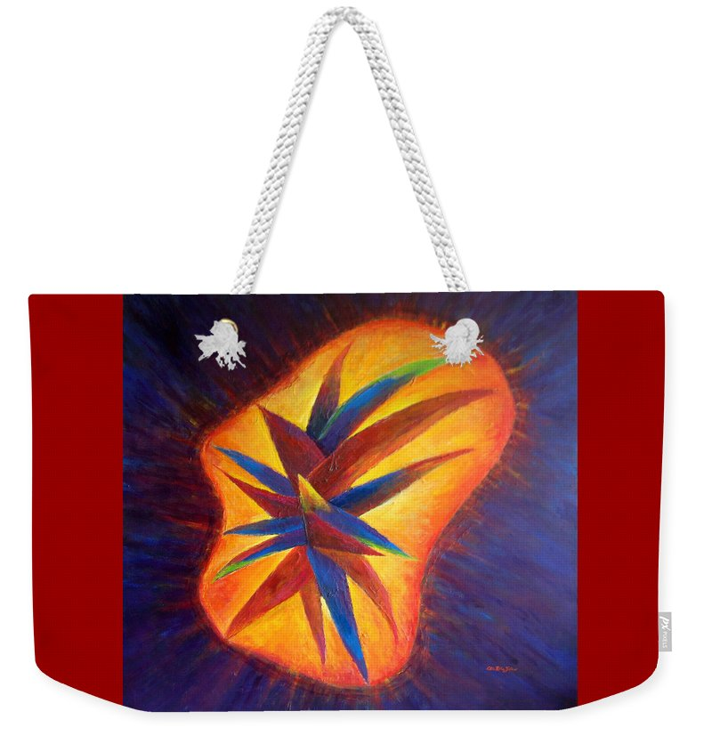 Oils Weekender Tote Bag featuring the painting Oasis II-banned Love by Estela Robles