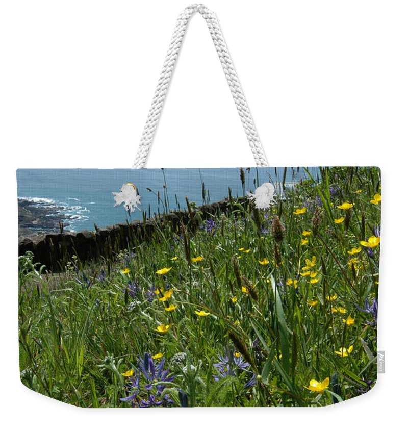 Ocean Weekender Tote Bag featuring the photograph Ocean Wildflowers by Mike Nellums