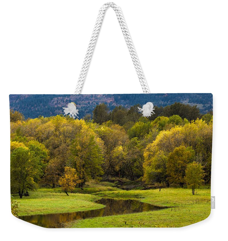 Creek Weekender Tote Bag featuring the photograph October Serenity by Mike Reid