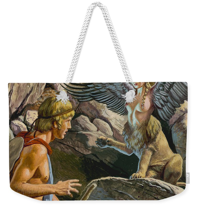 Thebes; Thebans; Lion; Beauty; Greek Legend; Mythology; Greece; Ancient Greece; Confrontation; Male; Thinking; Pensive; Creature; Riddle; Oedipe Weekender Tote Bag featuring the painting Oedipus Encountering The Sphinx by Roger Payne