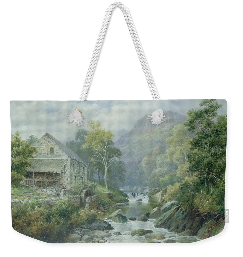 River; Wnion; Watermill; Wheel; Landscape; Mountains; Rocks; Dolgellau Weekender Tote Bag featuring the painting Old Disused Mill Dolgelly by William Henry Mander