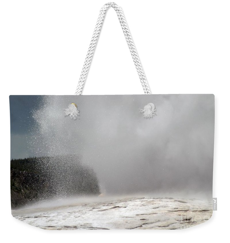 Old Faithful Weekender Tote Bag featuring the photograph Old Faithful Spray by Living Color Photography Lorraine Lynch