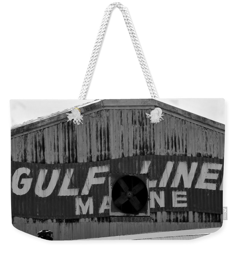 Fine Art Photography Weekender Tote Bag featuring the photograph Old Marine Sign by David Lee Thompson
