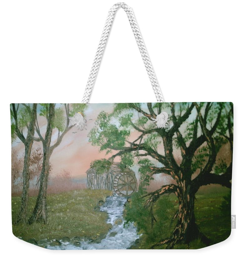 Rivers Strems Weekender Tote Bag featuring the painting Old Mill by Jim Saltis
