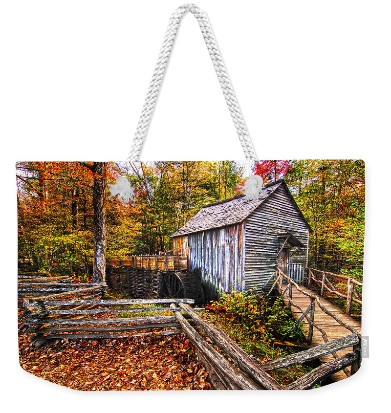 Old Mill Weekender Tote Bag featuring the photograph old mill Smoky Mountains by Randall Branham