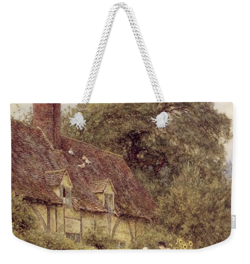 Cottage; Friends; Gate; Rural Scene; Country; Countryside; Path; Sunflowers; Wildflowers; Chickens; Picturesque; Idyllic; Timber Frame; Half-timbered; Female Weekender Tote Bag featuring the painting Old Post Office Brook Near Witley Surrey by Helen Allingham