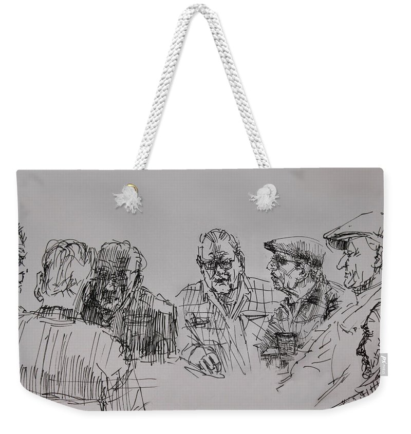 At The Cafe Weekender Tote Bag featuring the drawing Old-timers by Ylli Haruni