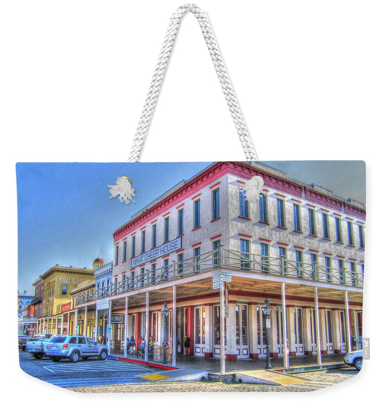 Street Corner Weekender Tote Bag featuring the photograph Old Towne Sacramento by Barry Jones