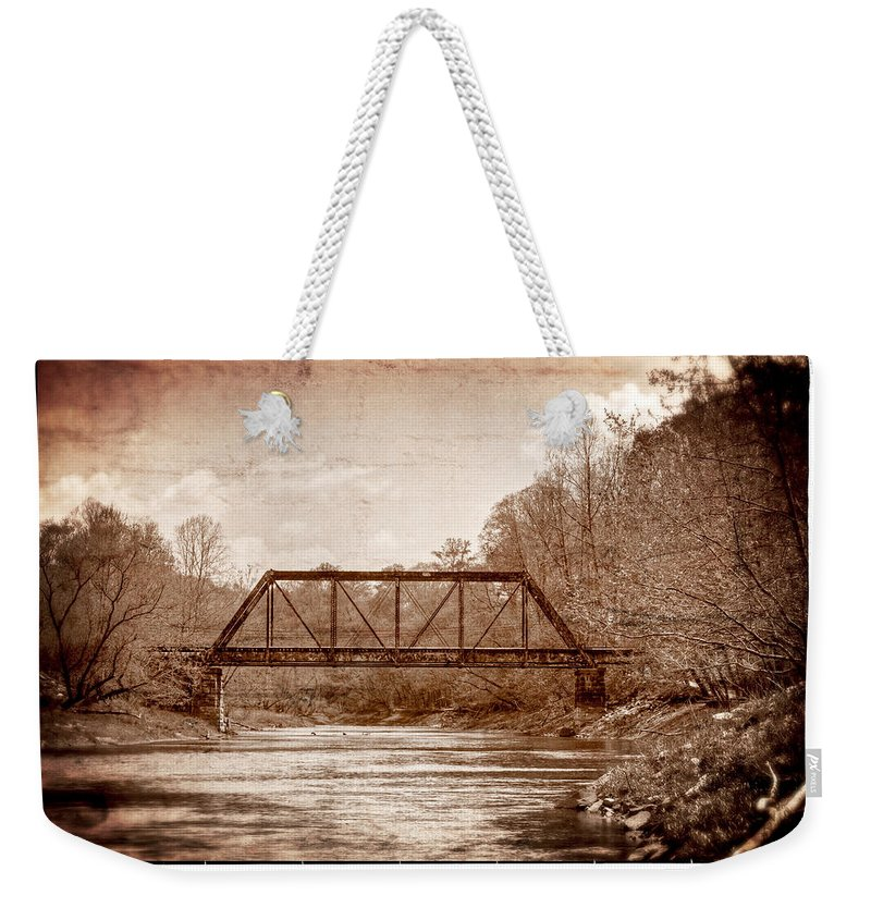 Murphy Weekender Tote Bag featuring the photograph Old Train Trestle by Debra and Dave Vanderlaan