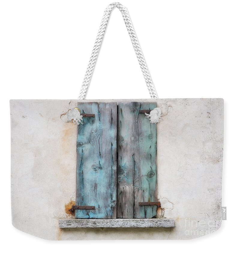 Window Weekender Tote Bag featuring the photograph Old Window With Blue Shutte by Mats Silvan