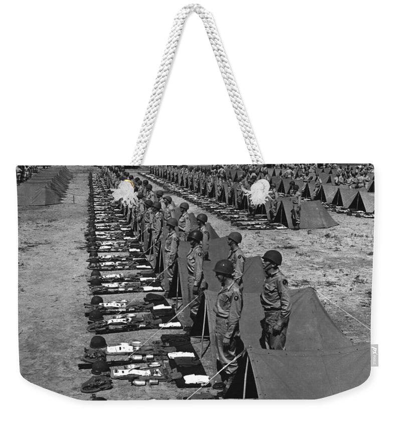 War Weekender Tote Bag featuring the photograph Oldiers Stand By For Inspection by Stocktrek Images