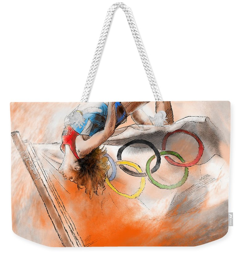 Sports Weekender Tote Bag featuring the painting Olympics High Jump Gold Medal Ivan Ukhov by Miki De Goodaboom