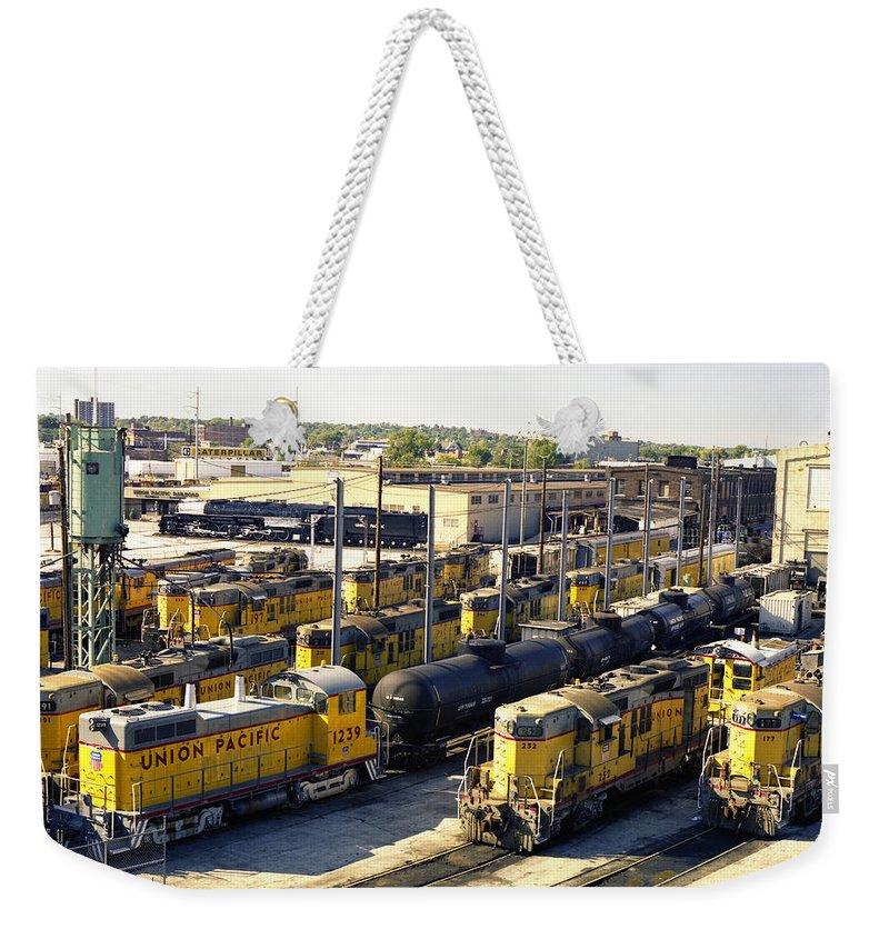 omaha Nebraska Weekender Tote Bag featuring the photograph Omaha Union Pacific Maintenance Shops by John Bowers