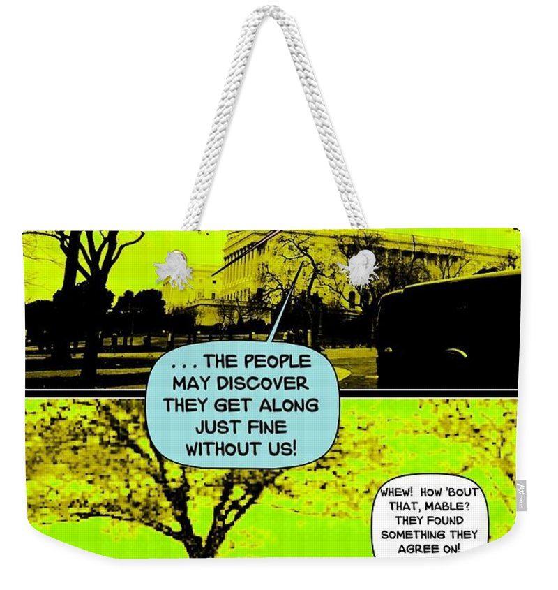 Cartoon Weekender Tote Bag featuring the digital art On The Bright Side 2 Agreement by Karen Francis