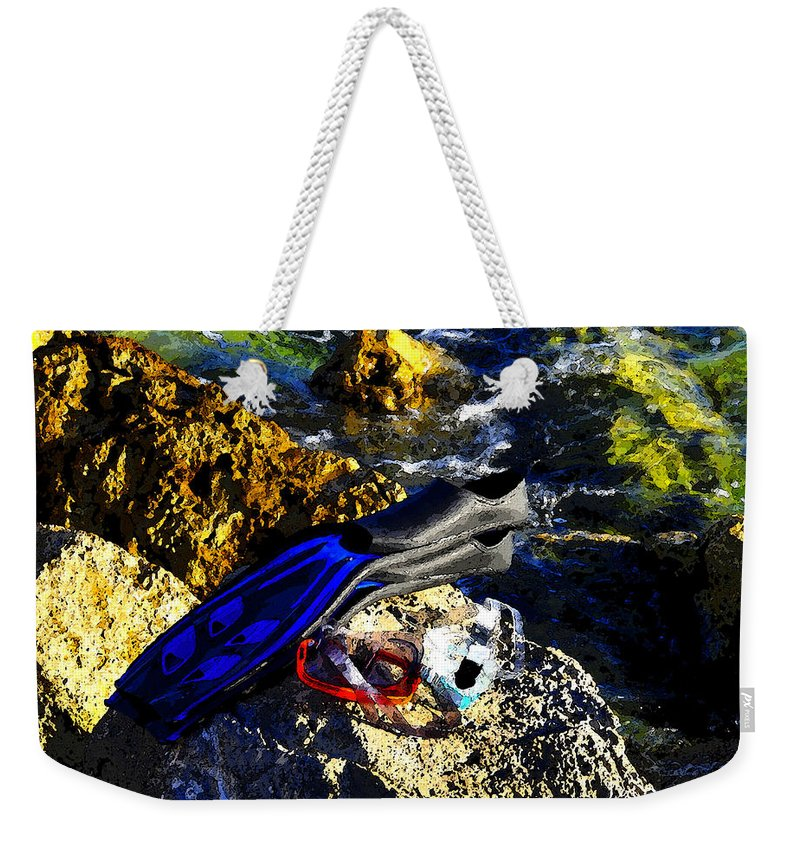 Art Weekender Tote Bag featuring the painting On The Rocks by David Lee Thompson