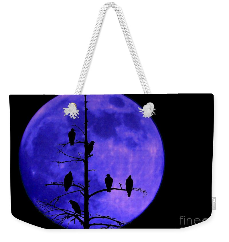 Full Moon Weekender Tote Bag featuring the photograph Once In A Blue Moon by Ken Frischkorn