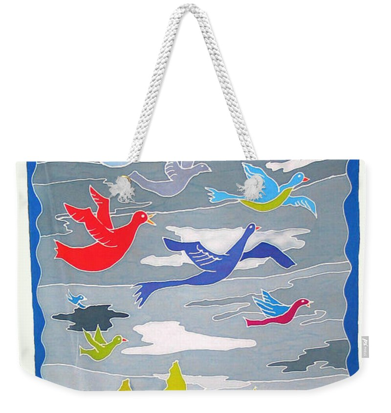 Landscape Weekender Tote Bag featuring the painting Once In A Blue Moon by Rollin Kocsis