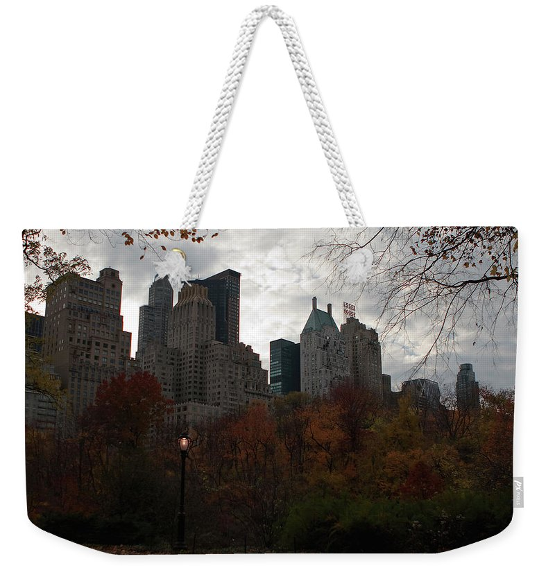New York City Weekender Tote Bag featuring the photograph One Light On In Central Park by Lorraine Devon Wilke