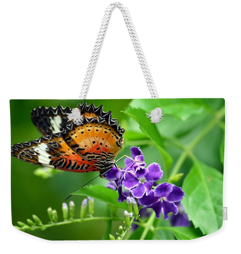 Butterfly Weekender Tote Bag featuring the photograph Orange Beauty by Richard Ortolano