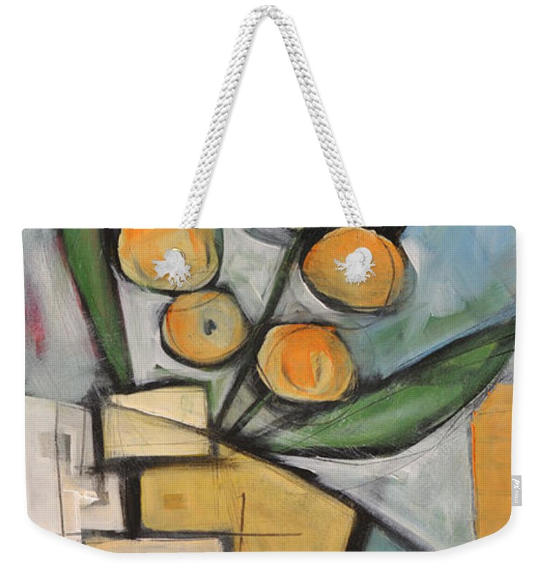 Flower Weekender Tote Bag featuring the painting Orange Blossom Special by Tim Nyberg