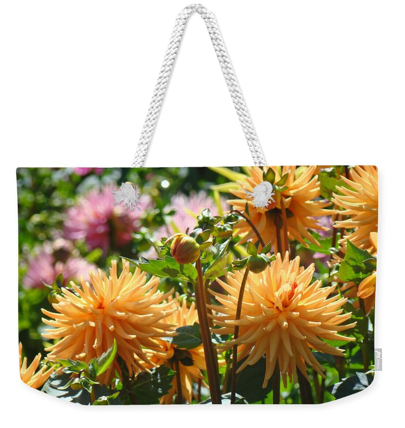 Flowers Weekender Tote Bag featuring the photograph Orange Dahlia Flowers art prints Canvas Framed by Patti Baslee