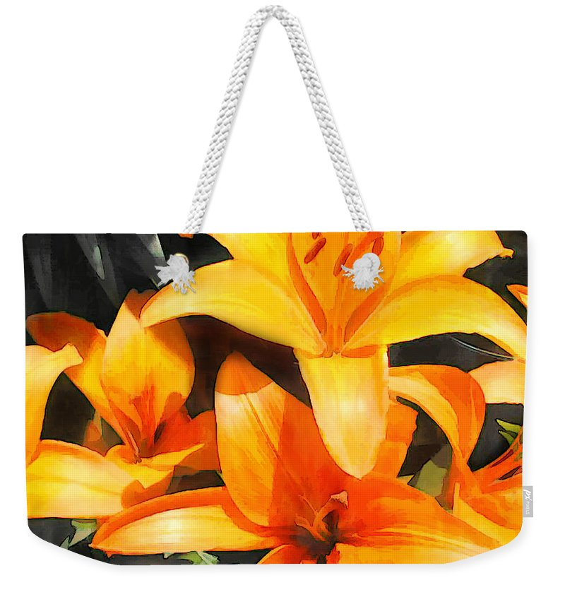 Flower Flowers Garden Lilies Lily Daylily Daylilies Orange Day+lily Day+lilies Flora Floral Nature Natural Weekender Tote Bag featuring the painting Orange Lilies by Elaine Plesser