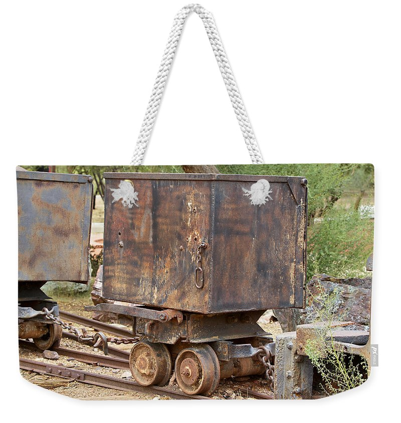 Ore Car Train Weekender Tote Bag featuring the photograph Ore Car Trian by Phyllis Denton