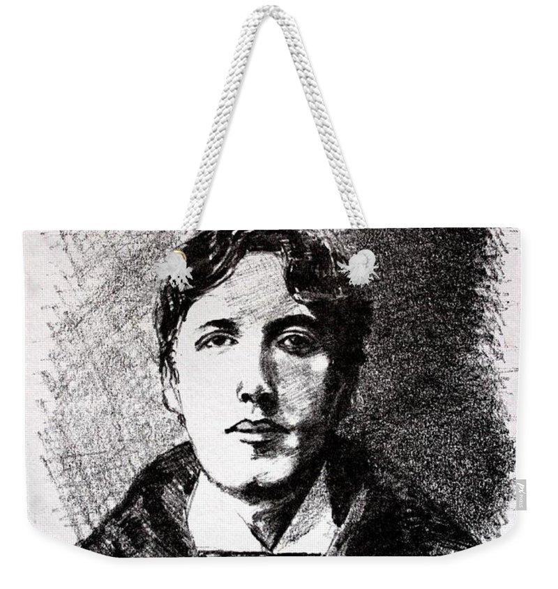 Pencil Weekender Tote Bag featuring the drawing Oscar Wilde by John Nolan