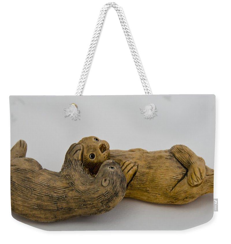 Usa Weekender Tote Bag featuring the photograph Otter Love This by LeeAnn McLaneGoetz McLaneGoetzStudioLLCcom