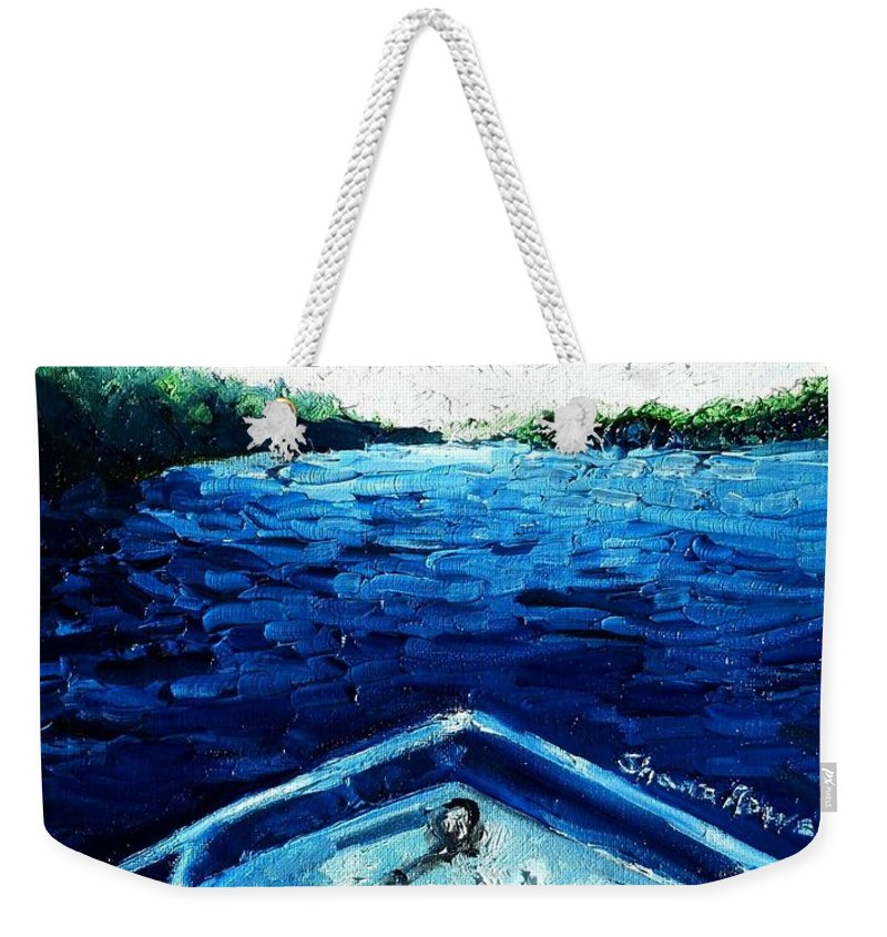 Boat Weekender Tote Bag featuring the painting Out On The Boat by Shana Rowe Jackson