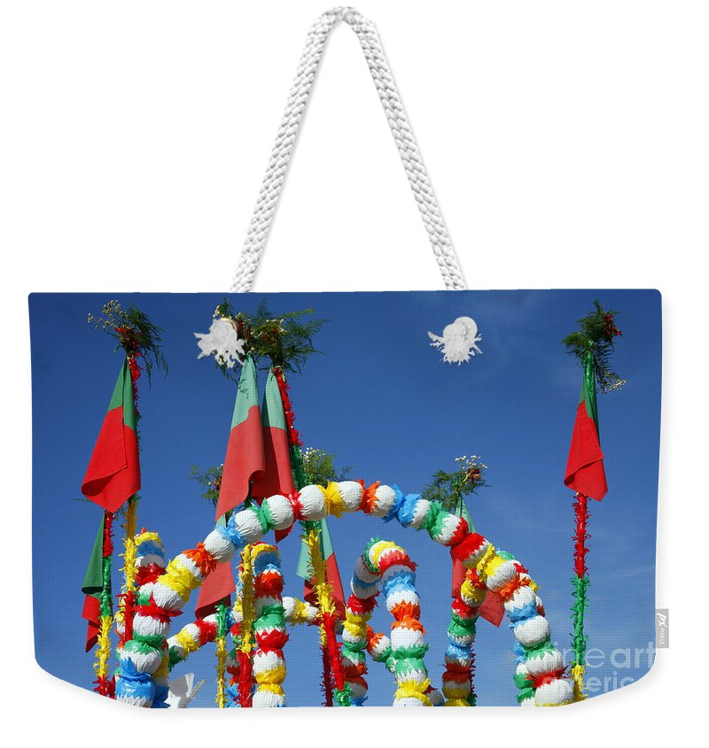 Festival Weekender Tote Bag featuring the photograph Oxen Cart Decorations by Gaspar Avila