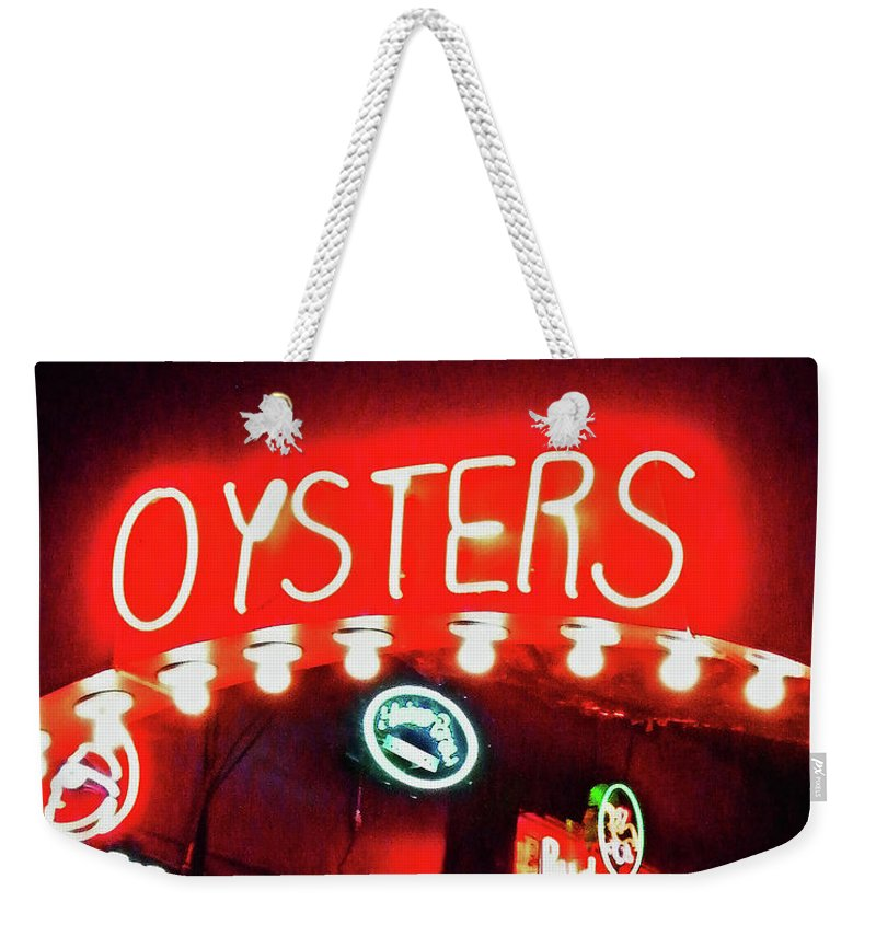 Neon Weekender Tote Bag featuring the photograph Oysters by Lizi Beard-Ward
