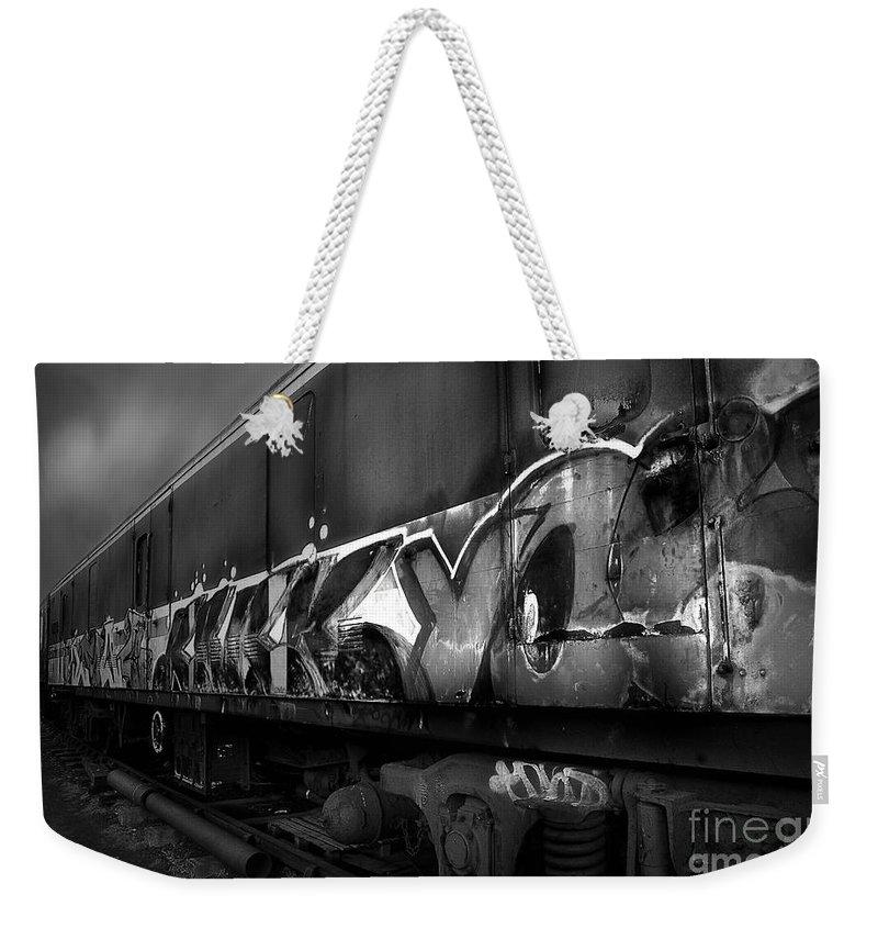 Yhun Suarez Weekender Tote Bag featuring the photograph Paint Job Bw by Yhun Suarez