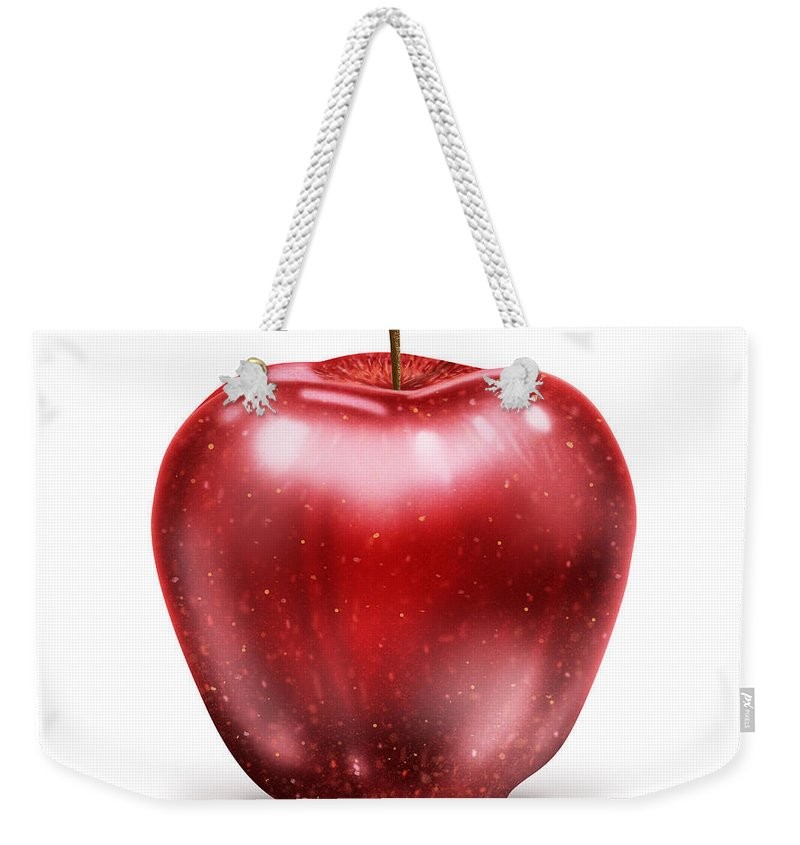 Agriculture Weekender Tote Bag featuring the painting Painting Of Red Apple by Setsiri Silapasuwanchai