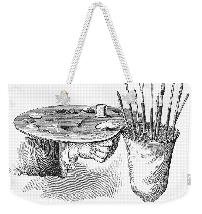 1881 Weekender Tote Bag featuring the photograph Palette And Brushholder by Granger