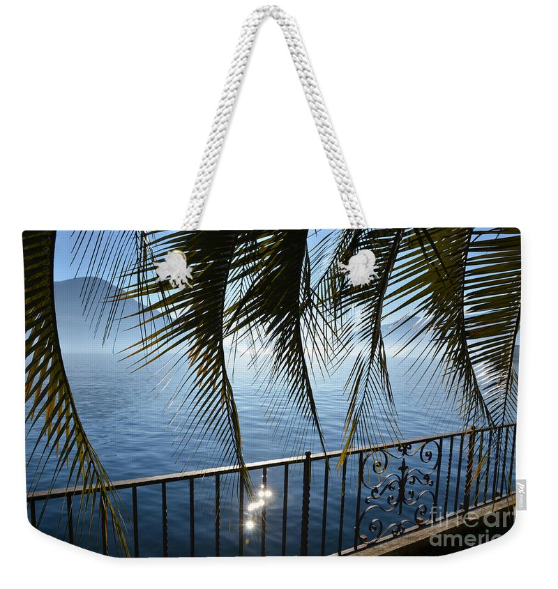 Palm Leaf Weekender Tote Bag featuring the photograph Palm Leaves On A Foggy Lake by Mats Silvan
