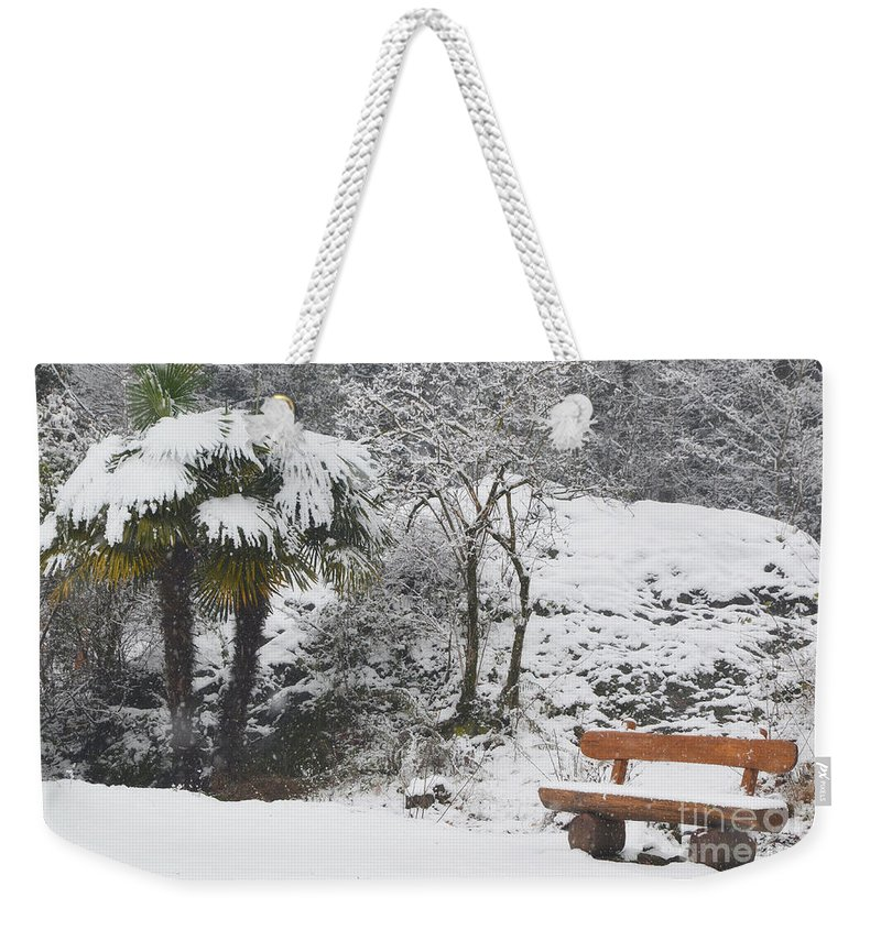 Bench Weekender Tote Bag featuring the photograph Palm Tree And A Bench With Snow by Mats Silvan