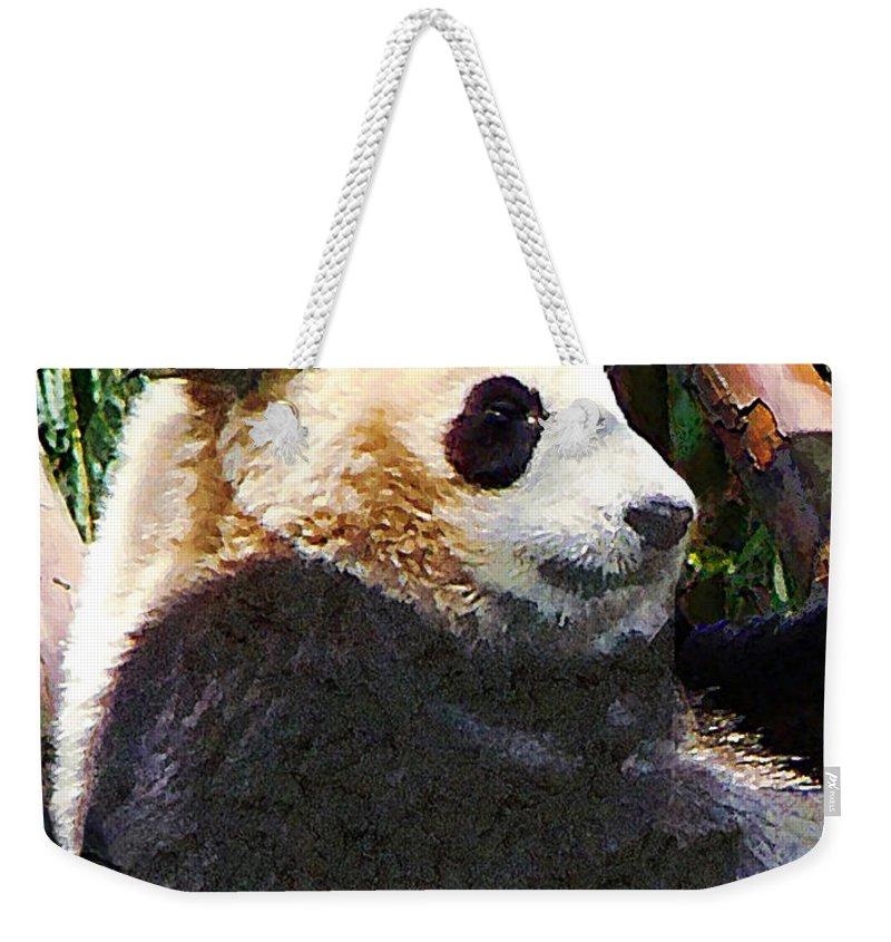 Panda Weekender Tote Bag featuring the photograph Panda In Tree by Susan Savad
