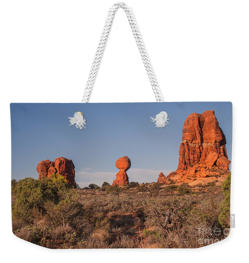 Balance Rockarches National Park Weekender Tote Bag featuring the photograph Panoramic View Of Balance Rock                            by Robert Bales