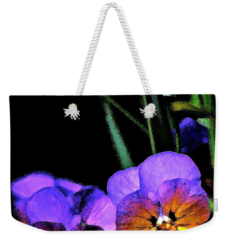 Floral Weekender Tote Bag featuring the photograph Pansy 5 by Pamela Cooper