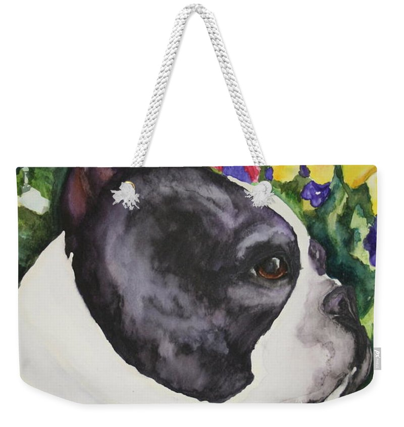 Boston Terrier Weekender Tote Bag featuring the painting Pansy by Susan Herber