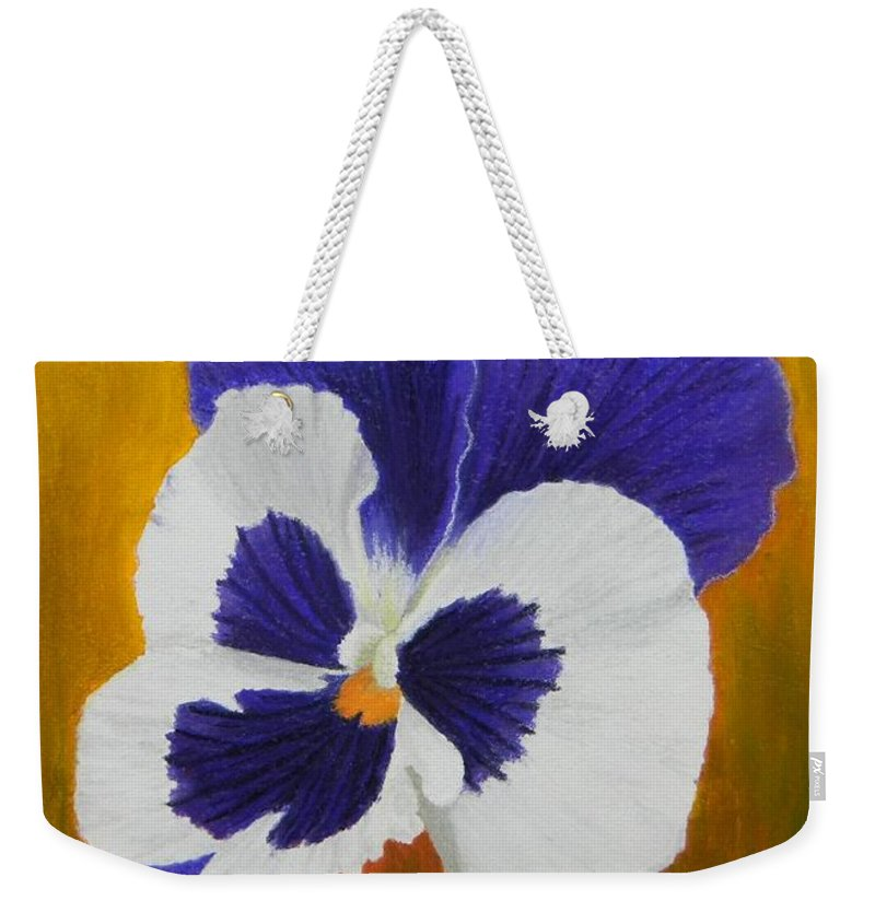 Still Life Weekender Tote Bag featuring the painting Pansy by Xenia Sease