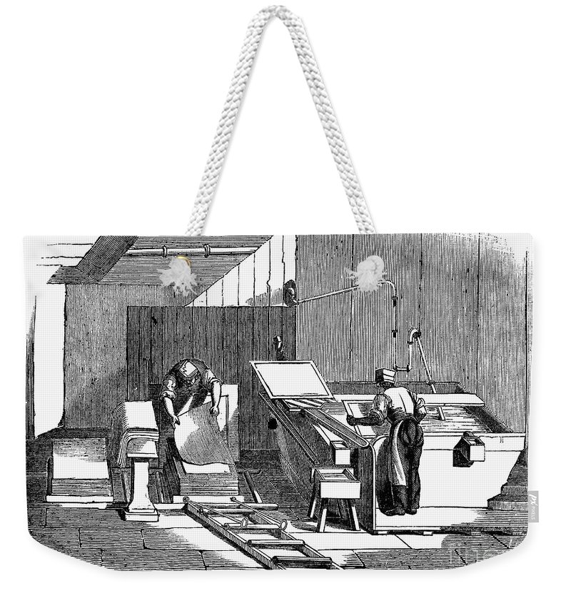 1833 Weekender Tote Bag featuring the photograph Papermaking, 1833 by Granger