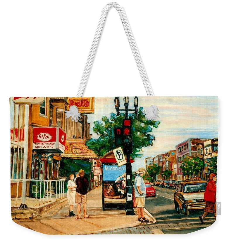 Montreal Weekender Tote Bag featuring the painting Park Avenue And Bernard Montreal City Scene by Carole Spandau